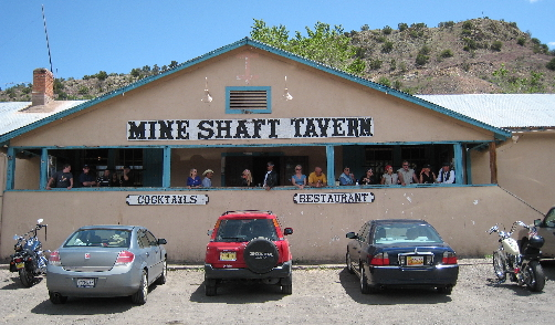The Mine Shaft Tavern is a very popular eatery and watering hole on the Turquoise Trail