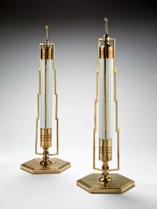 Gold and White Art Deco Table Lamps with Lightening and Electricity Motif