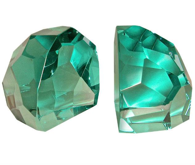 Green Cut Glass Art Deco Bookends