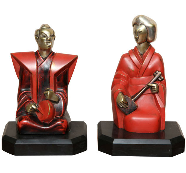 Chinese Art Deco Bookends