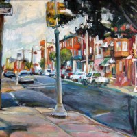 Oil painting of Frankford and Dauphin streets in Fishtown Philadelphia, by Noel Hefele