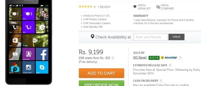 Lumia 535 pre-order