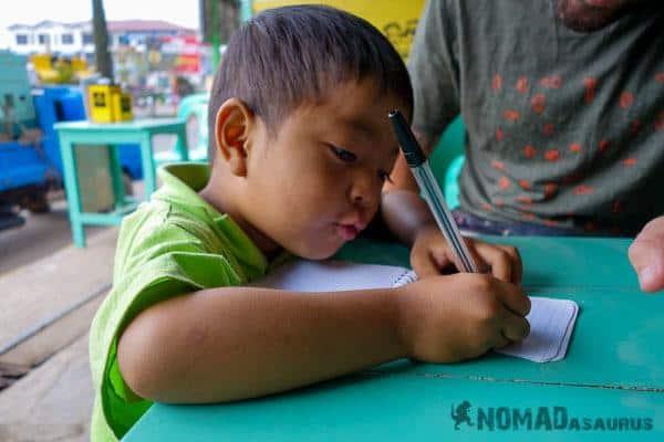 Drawing kid people of Myanmar