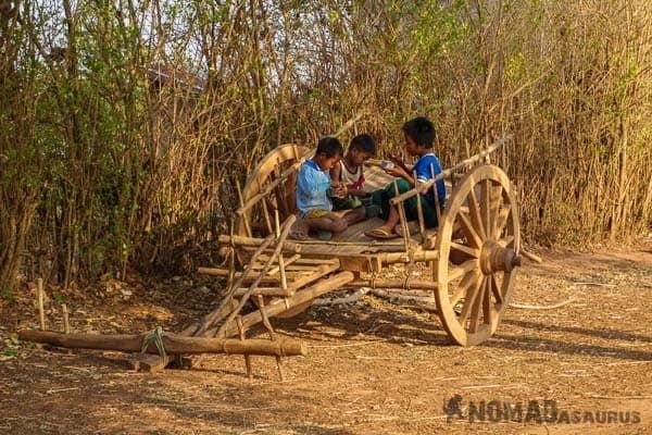 Kids on cart people of Myanmar