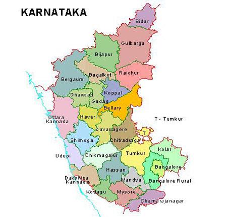 tourist places to visit in Karnataka - Karnataka Map