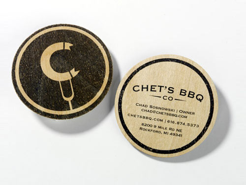 round die cut business cards