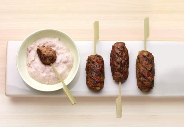 Lamb and Plantain Koftas with Tomato-Yogurt Sauce