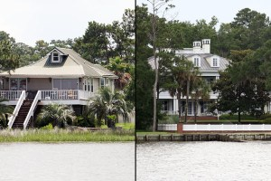 These are two views of shore­lines in Mobile Bay in Alabama. At left, a nat­ural shore­line is seen, and at right, a man-​​made ver­tical wall is seen. Photos taken by Steven Scyphers.