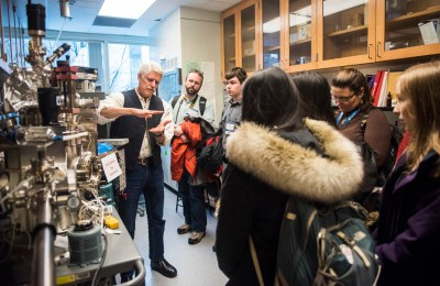 Students get to look at Don Heiman's lab