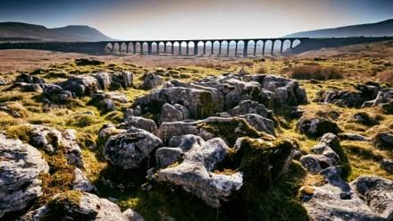 Limestone pavement and the viaduct.