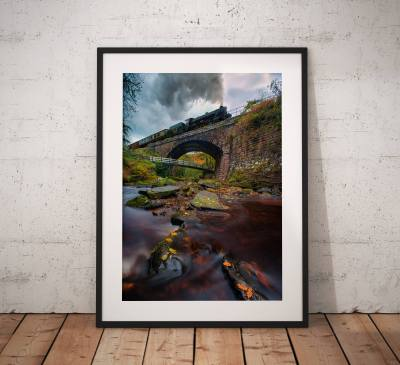 Railway photography, Steam Train, Stream, Long Exposure, North York Moors, Autumn, Countryside, Vintage, Retro, England, Wall art print