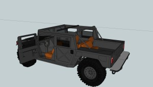 3D Model Tremor MUV with doors, seats, rollcage, hood, and tailgate