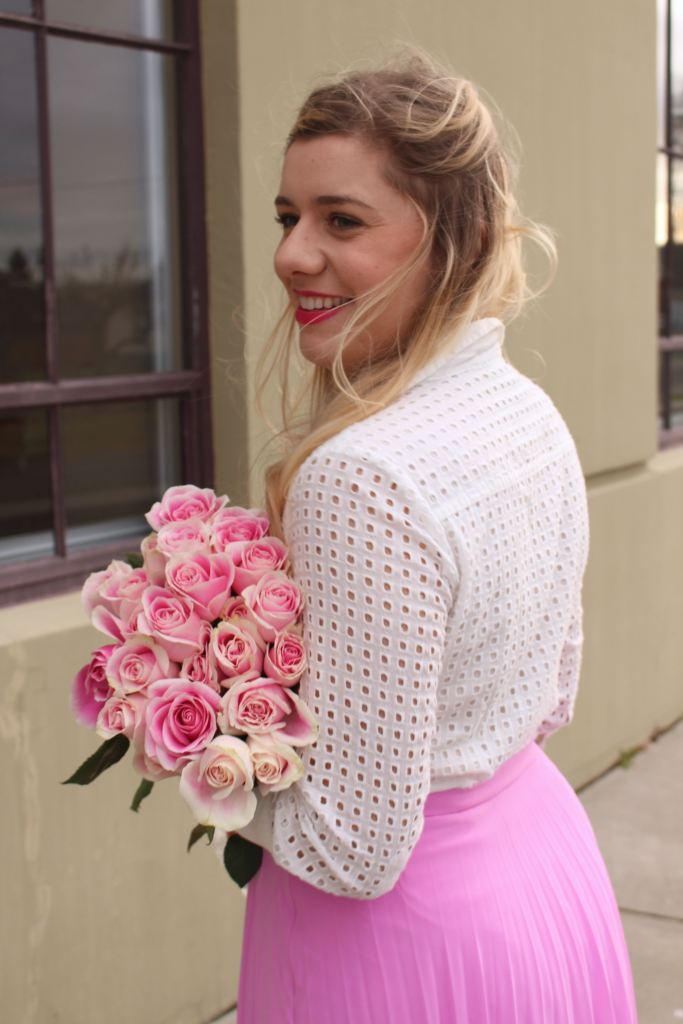 valentines outfit - pink skirt - rachel parcell