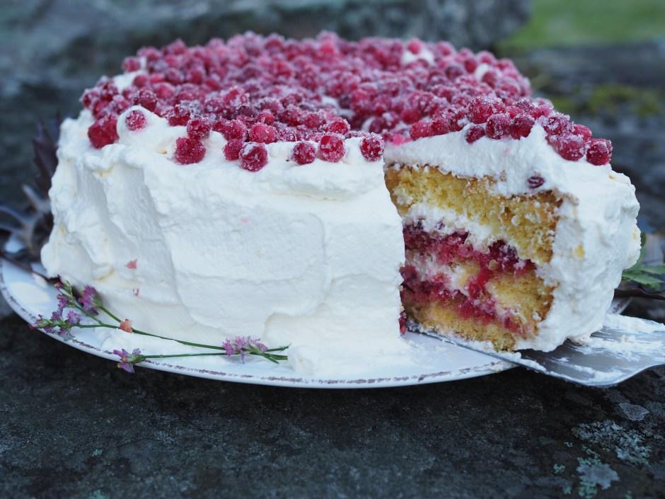 Bløtkake med Tyttebaer (Norwegian Layer Cake with Lingonberries)