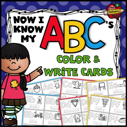 Now I Know My ABC's Color and Write Cards