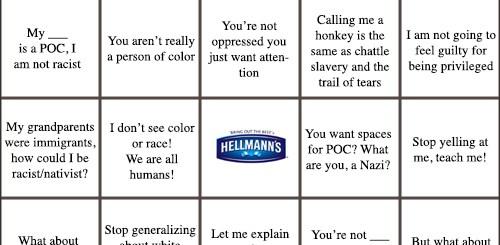 White Privilege Denial Bingo