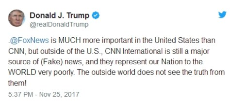 image of a Donald Trump tweet saying Fox News is more important than CNN