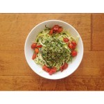 Zoodles with Kale Pesto + Pan-roasted Cherry Tomatoes.