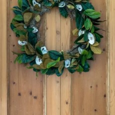 Illustrated instructions to make a fall wreath using oysters, magnolia leaves, magnolia seed pods and pheasant feathers. Perfect decor for your front porch.
