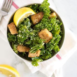 Vegan Kale Caesar Salad with Homemade Croutons | nourishedtheblog.com | feature image