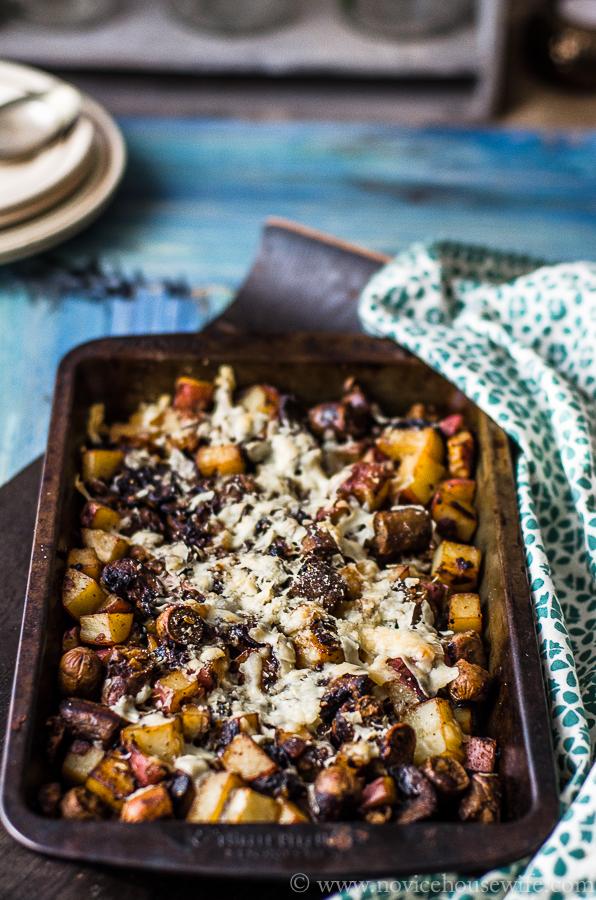 sausage mushroom potato gratin-2