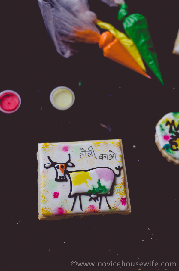"""Holi Cow"" Holi theme sugar cookies 