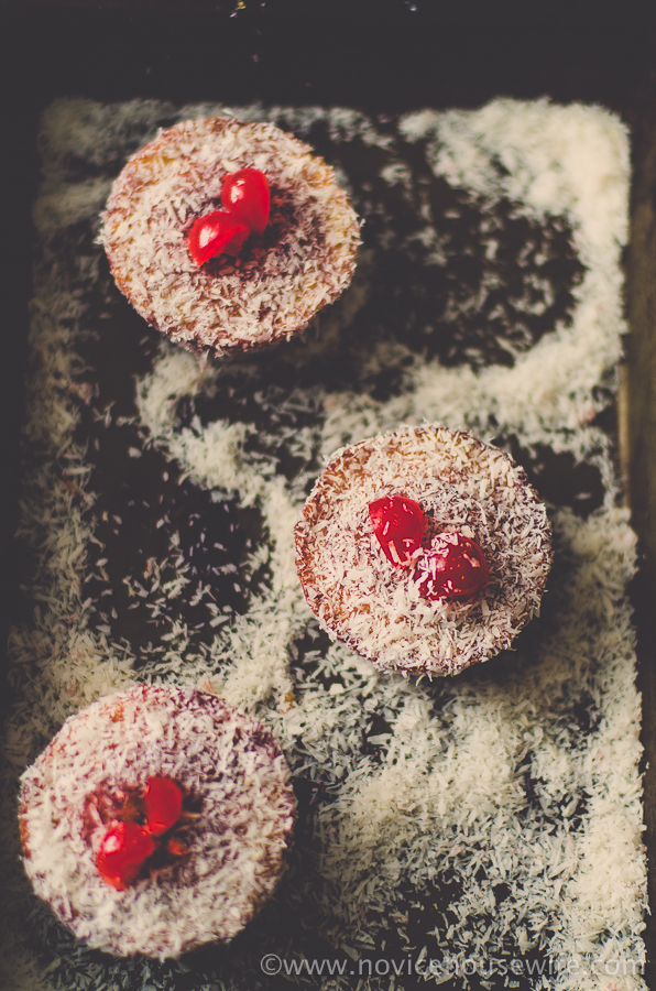 English Madeleines: Mini Sponge Cakes bathed in jam and rolled in desiccated coconut   The Novice Housewife
