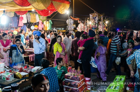 Crowds at phase 7 Mohali during Diwali