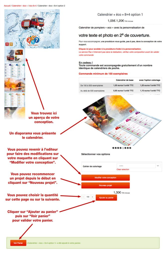 tutoriel de personnalisation en ligne de calendrier de sapeur-pompier 11, npc-calendrier.fr