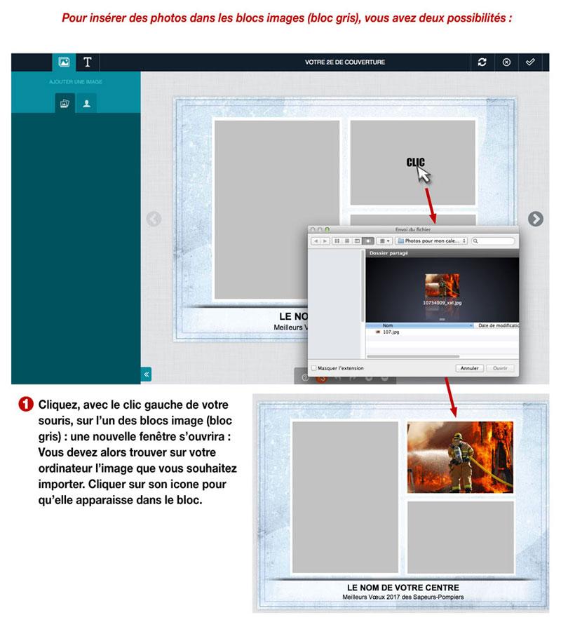 tutoriel de personnalisation en ligne de calendrier de sapeur-pompier 6, npc-calendrier.fr