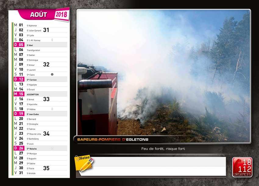 calendrier des sapeurs-pompiers de Egletons-2018-6, npc-calendrier.fr