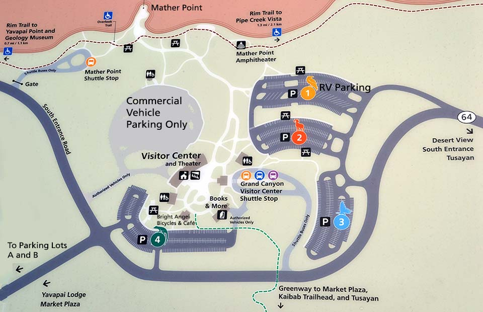 Parking   South Rim   Grand Canyon National Park  U S  National Park     Map showing Visitor Center with parking lots 1 4 and Shuttle Bus Stop