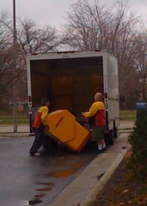 DHL drop box being carried off