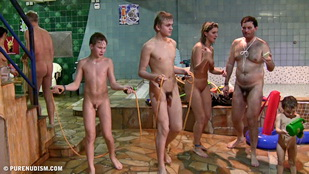 nudist family body painting