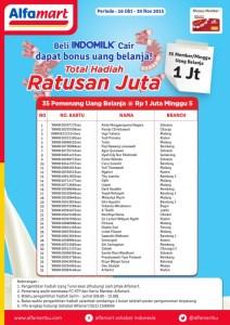 35 Pemenang Uang Belanja @Rp 1 Juta Minggu Kelima (Indomilk-Alfamart)