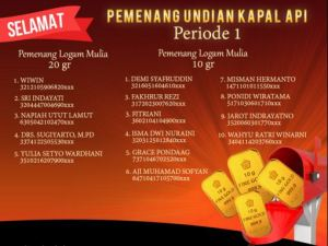 15 Pemenang Logam Mulia Undian Kapal Api Periode 1