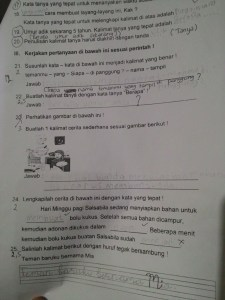 Soal UAS Bahasa Indonesia Kelas 2 SD Semester 1  2015/2016