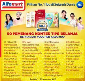 50 Pemenang Tips Belanja Alfamart - P&G (By Twitter)