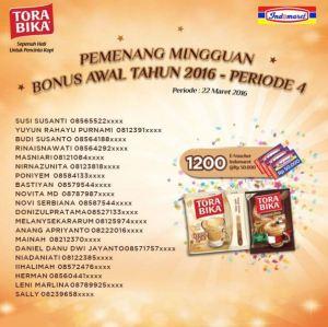 200 Pemenang Mingguan Ke 4 Bonus Torabika Indomaret (Maret 2015)