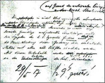 Manuscrito original de la Declaración de Mayo de 1917