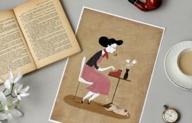 Lamina ilustracion escritora libro