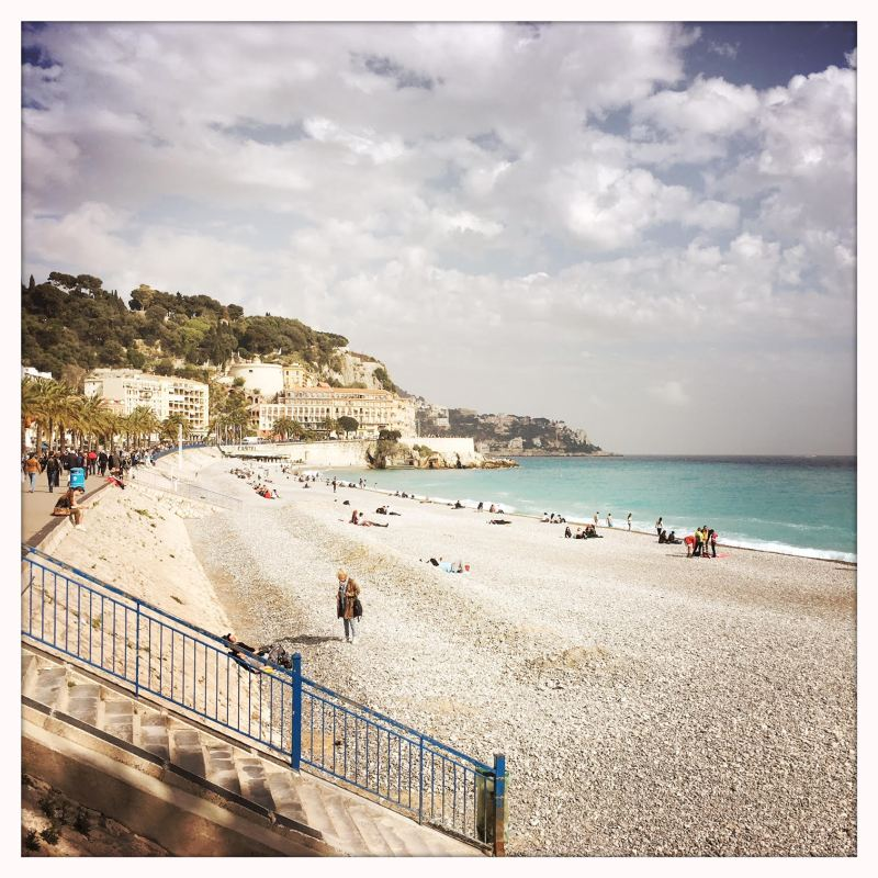 The Promenade des Anglais in Nice, France, the afternoon we arrived in April.
