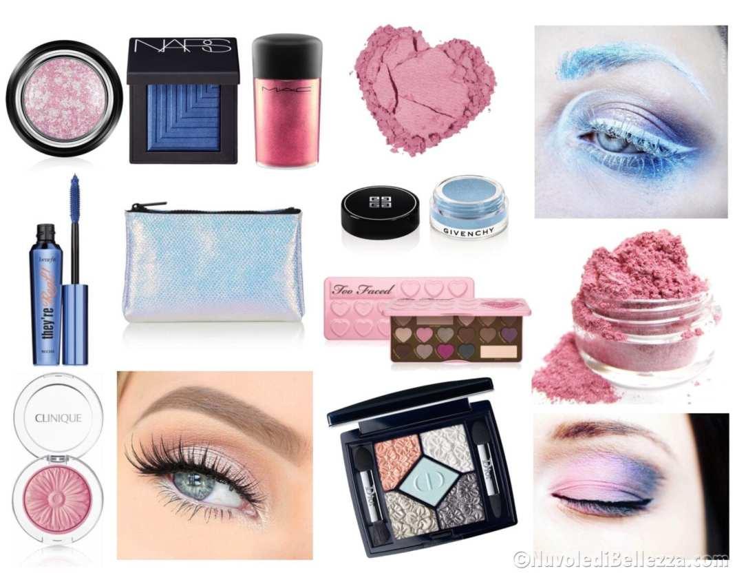 Trucco rosa quarzo e azzurro serenity