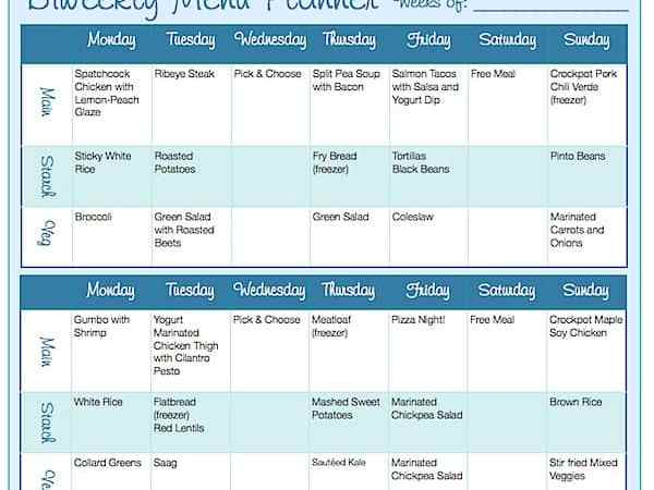 Biweekly Menu Planning Form (Free Downloadable)