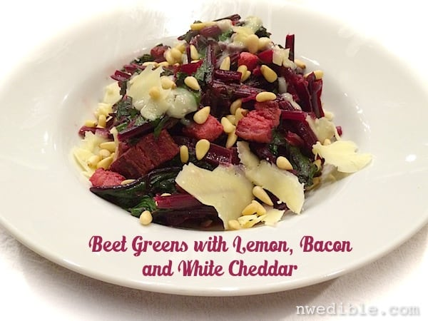 Beet Greens with Lemon, Bacon and White Cheddar
