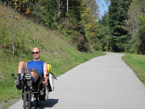 New York City Recumbent Supply owner Robert Matson on a tour in the Berkshires on a Grasshopper fx, one of HP Velotechnik's recumbent bikes.