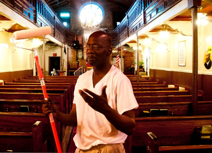 Sweat equity & mentoring teenagers are the distinctives of Rev. LA Ross at Little Zion Baptist Church, 98 Scholes St. Photo: Tony Carnes/A Journey through NYC religions