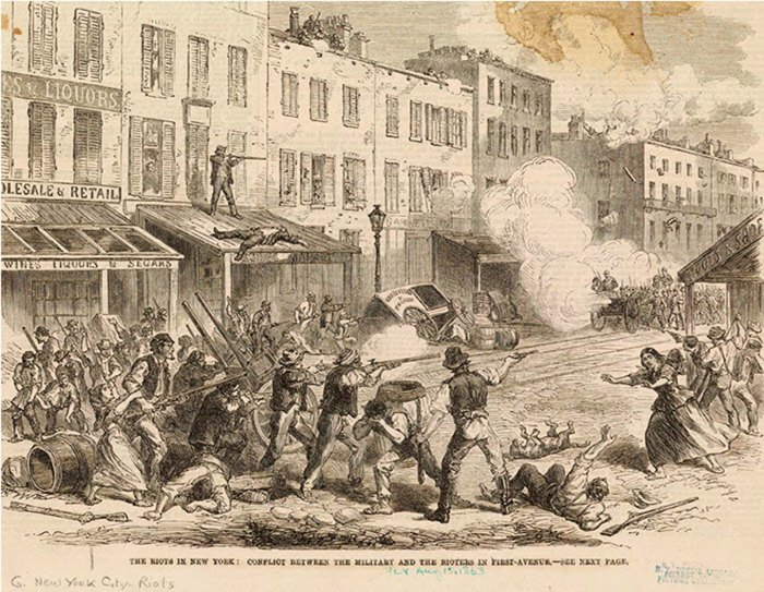 Anti-Draft Riot. Source: New York Public Library Image Collection, published Augutst 15, 1863