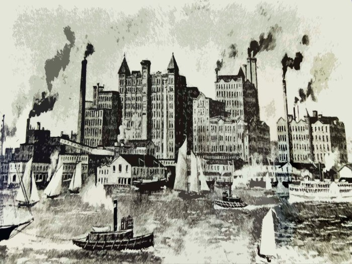 American Sugar-Refining Co. depended upon molasses produced by slaves. The company later changed its name to Domino Sugar Company.Portrait of the company's plant in Williamsburg in 1890. Illustration by A Journey through NYC religions with materials from Brooklyn Historical Society.