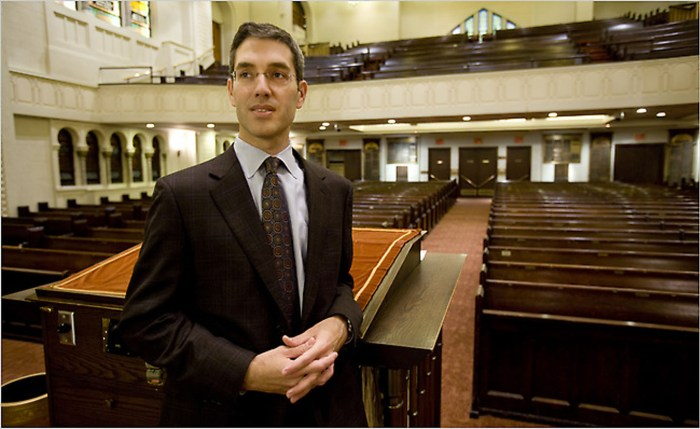 Progressive Rabbi Elliot Cosgrove at Conservative Park Avenue Synagogue Manhattan